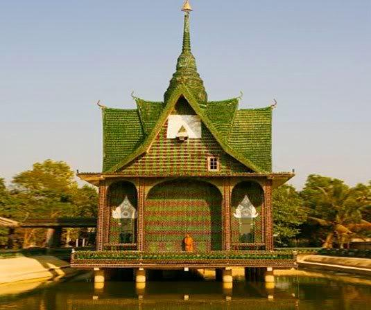 The Wat Pa Maha Chedi Kaew temple in Thailand was constructed with 1 million bottles of Heineken and a local beer.